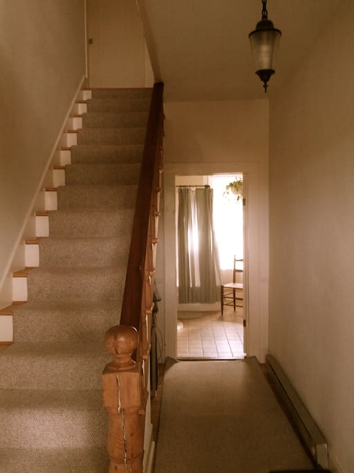 Private Entry full bath down stairs and upstairs. Small fridge and wine glasses