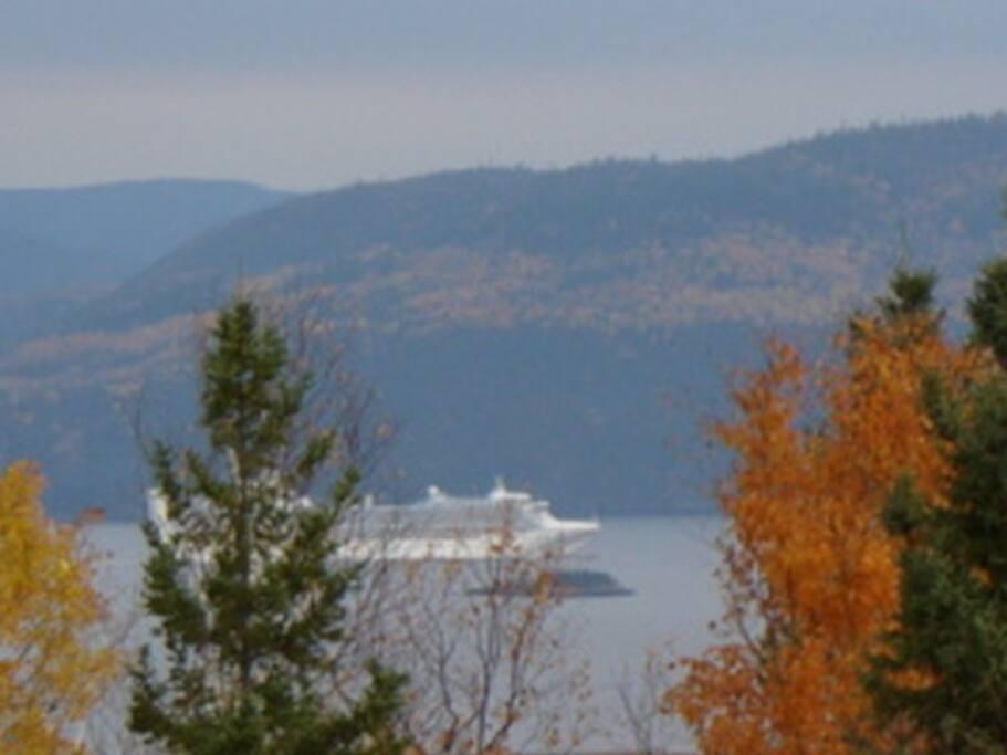 Coloris d'automne sur le Fjord. ( De  la terrasse.)