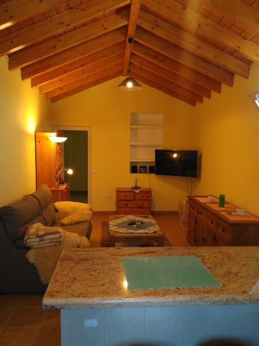 Der Wohnbereich mit offener Holzdecke