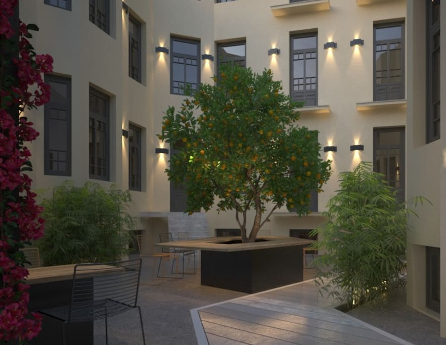 Enjoy your coffee in the peaceful atrium of the complex