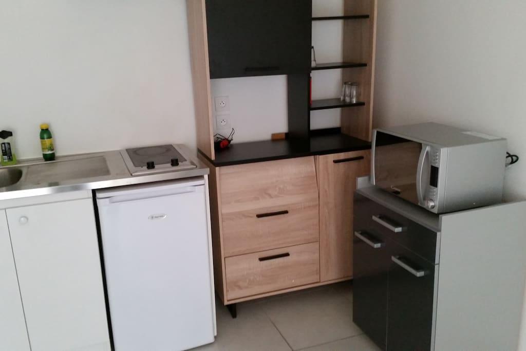 Kitchenette équipée avec hotte, plaques (2) de cuisson et micro-ondes