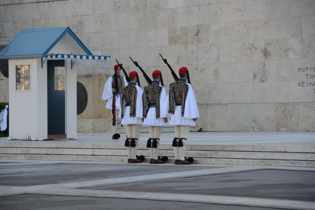 Change of guards at Syntagma square. (2 minutes walking)