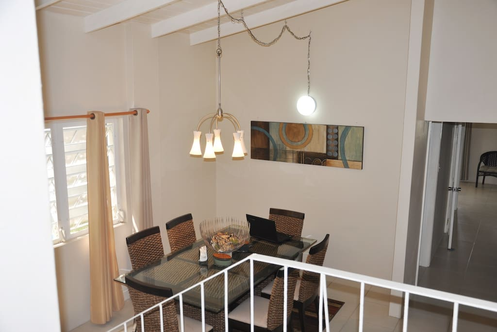 Main villa, view from living room overlooking dining room