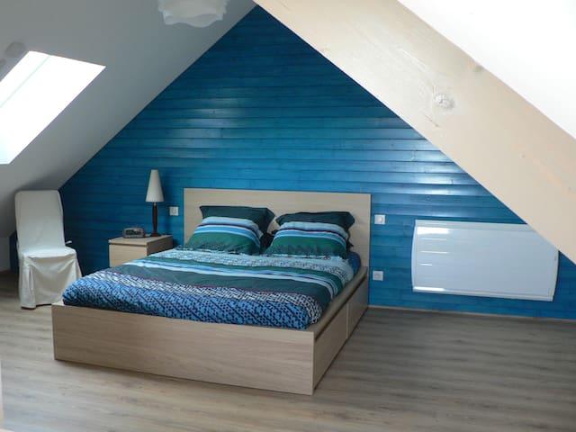 Belle chambre lumineuse avec grand lit