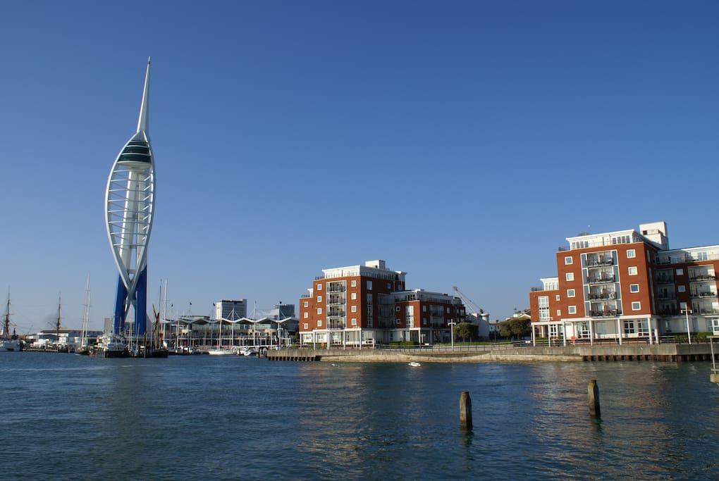 Spinnaker Tower and the Gun Wharf Quays Flats on the right.