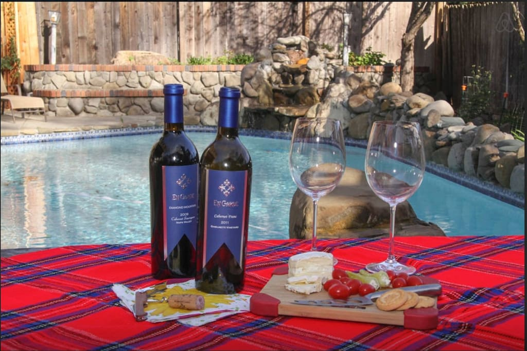 Enjoy a glass of wine  in the secluded/private backyard