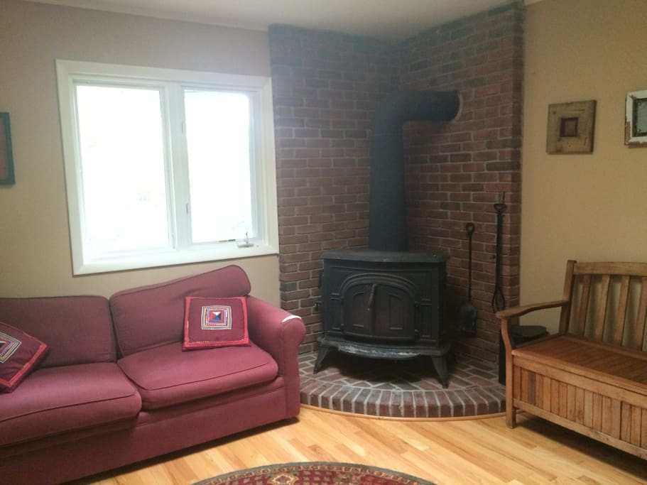 Wood burning stove and loveseat