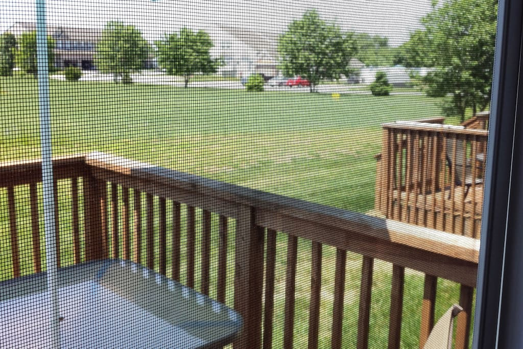 View from back deck(w/grill and table with seating for 4)