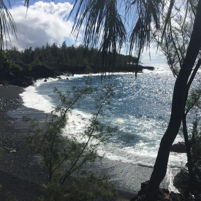 Kehena beach, just Just a short drive to a quiet black sand beach.