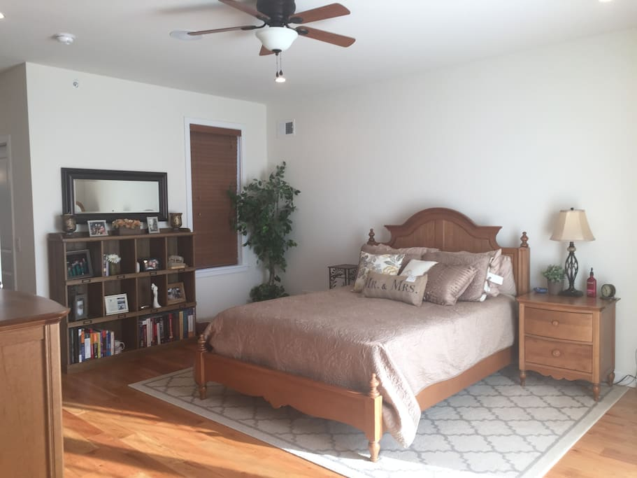 Master bedroom is very spacious, has 2 walk in closets, and is the entire 4th floor!    Wake up to a beautiful view of the city!