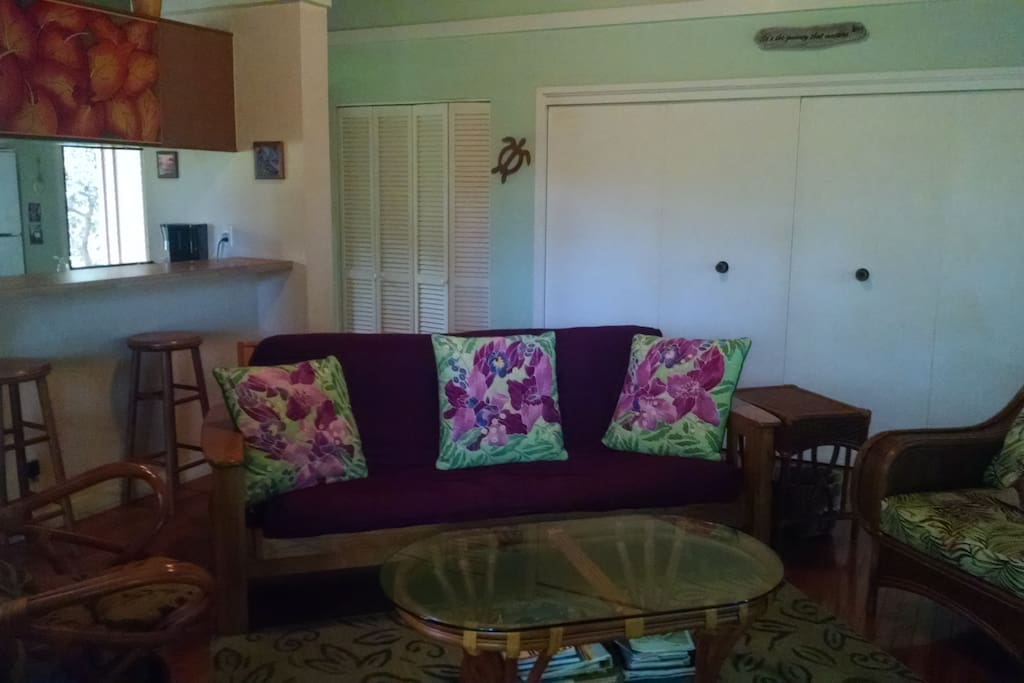 living room with futon couch and cathedral ceilings
