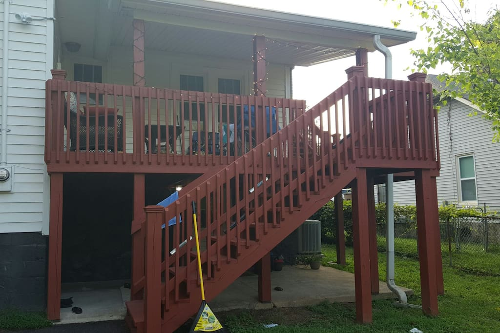 Back porch stairs to apartment