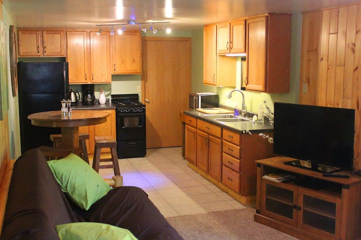 Main living space with full kitchen.