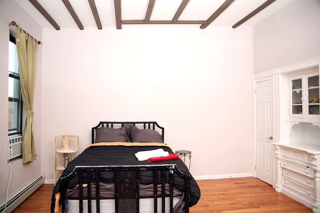 Plenty of space.  Closet to the right and a built in dresser!