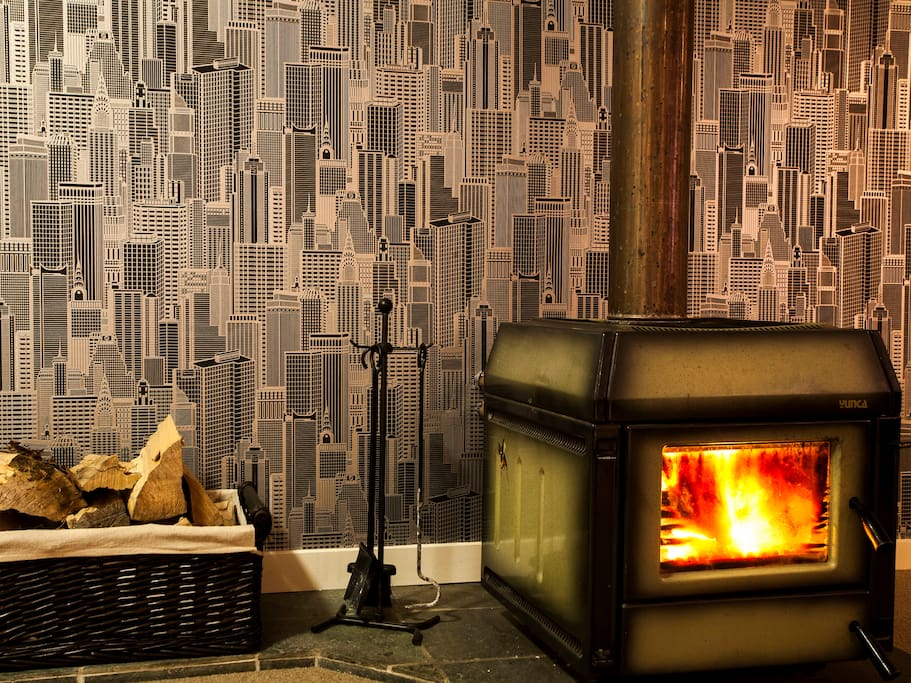 Log burner to keep house warm and cozy through Queenstowns cold winter.