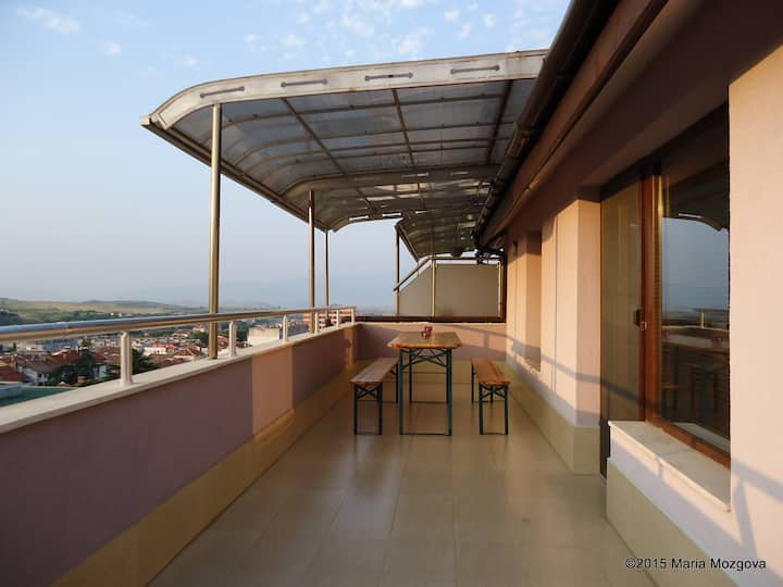Top center apartment, large terrace & amazing view