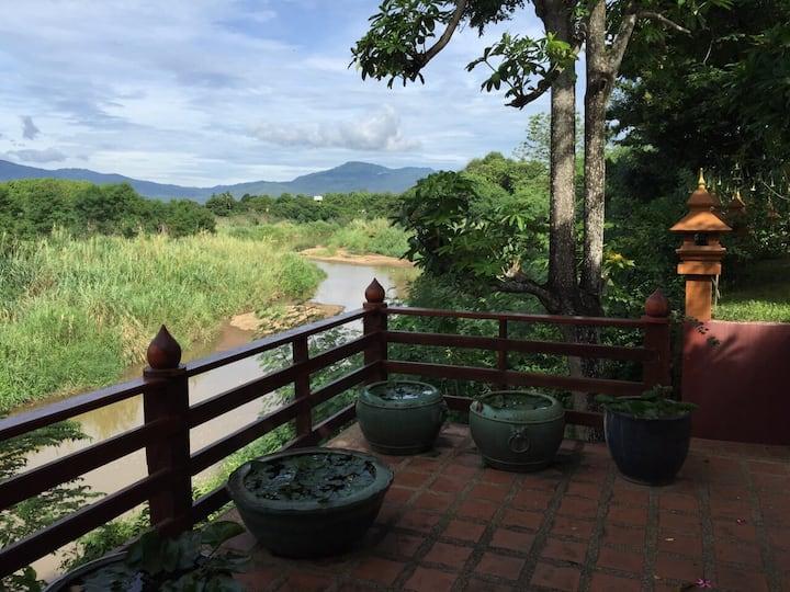 Villa by Mae Rim River with driver