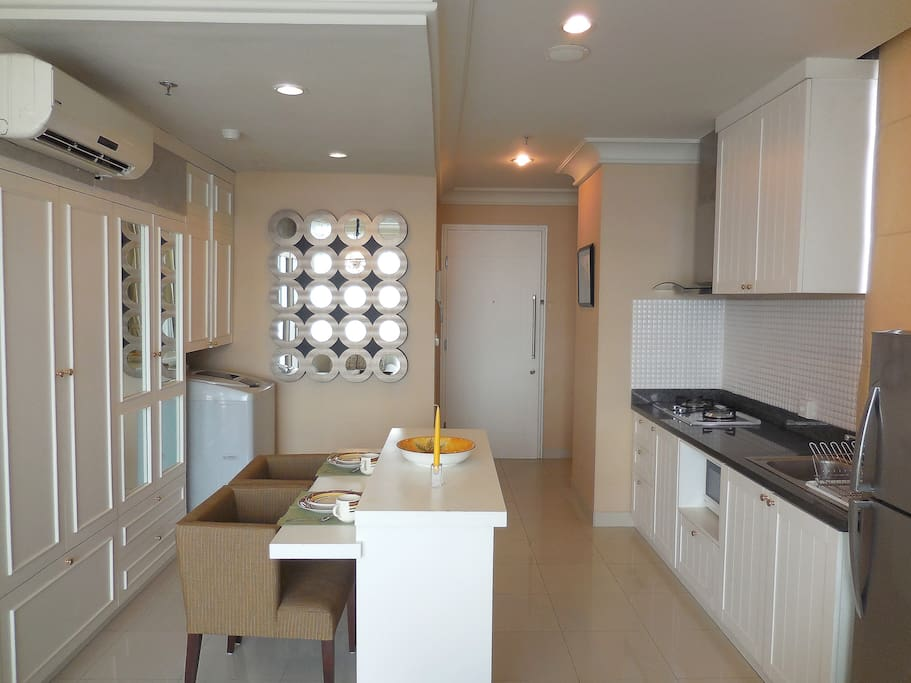 Simple yet compact kitchen and dining area