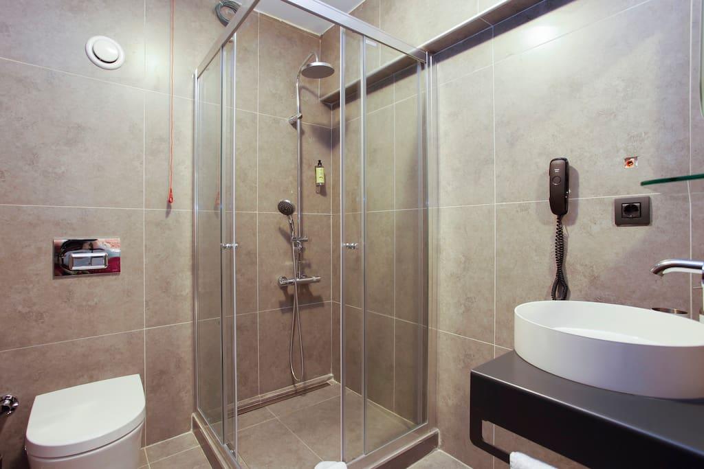 Bathroom with rainshower details.