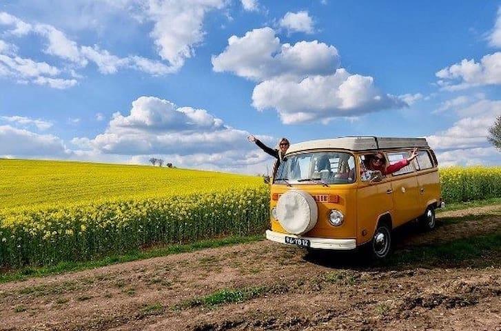 vintage VW hippiebus near amsterdam