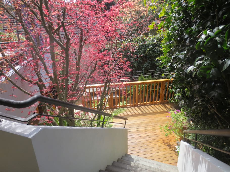 Steps down to your accommodation