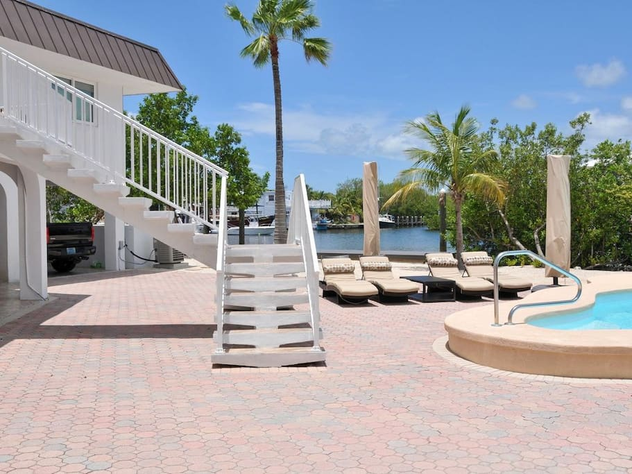 View of the pool and dock