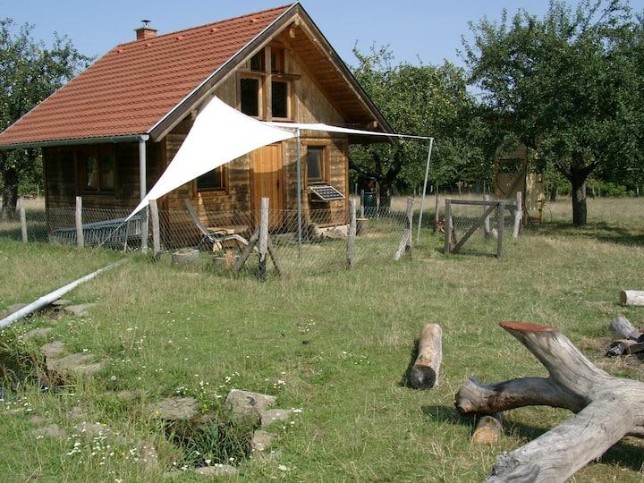 Off grid wooden cabin