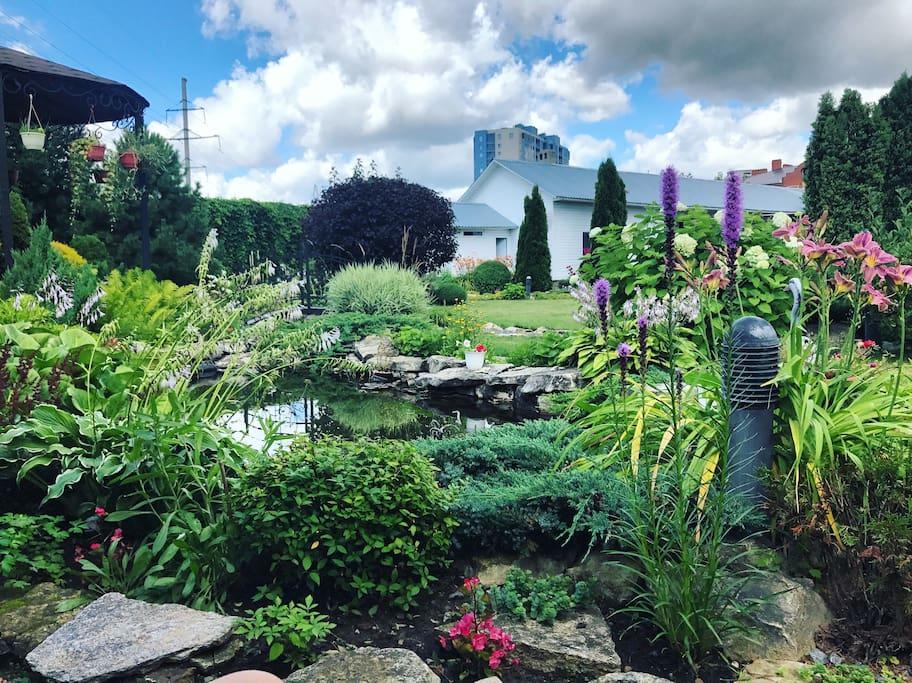 Garden with a handmade lake