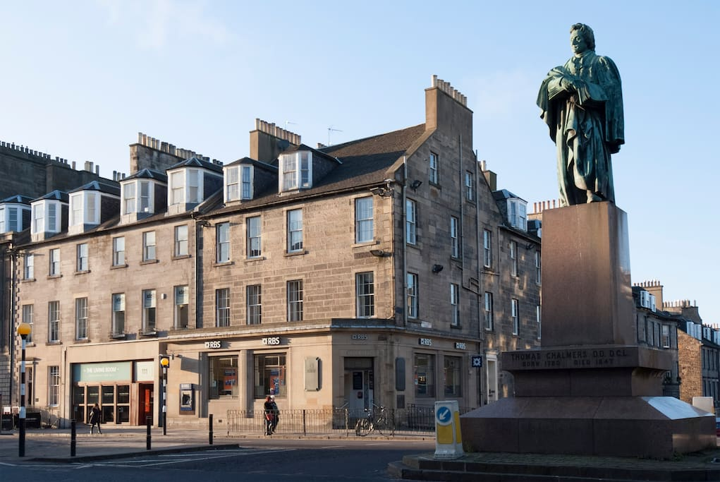 This is the exterior of the Georgian building, on one of the main shopping and eating streets of the Edinburgh New Town - the apartment is on the 2nd floor with incredible views of the area