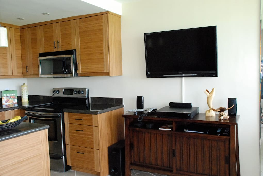Kitchen and 42-inch flat screen TV