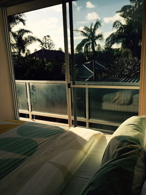 View from the bedroom: palmtrees and sun...