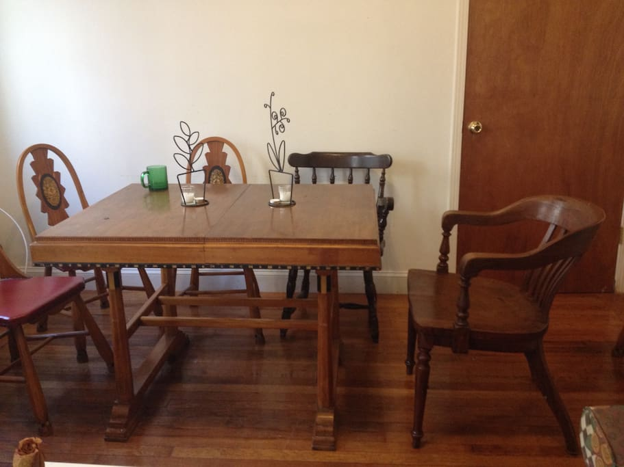 Wooden dining area. Extendable table for up to 10 people
