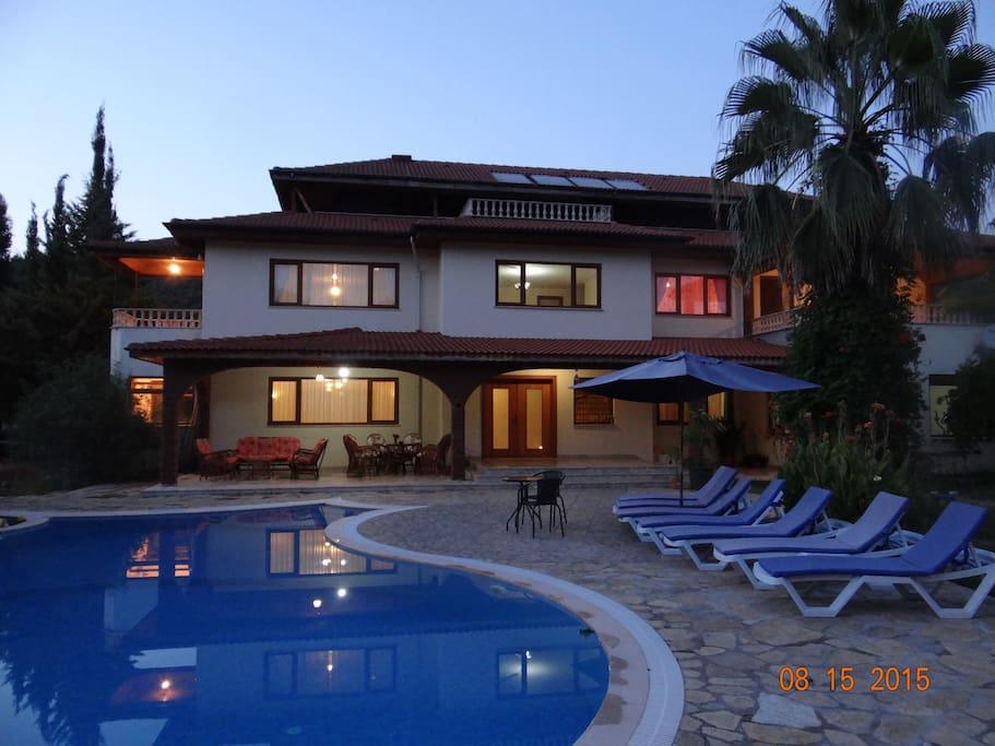 villa yasemin at evening.