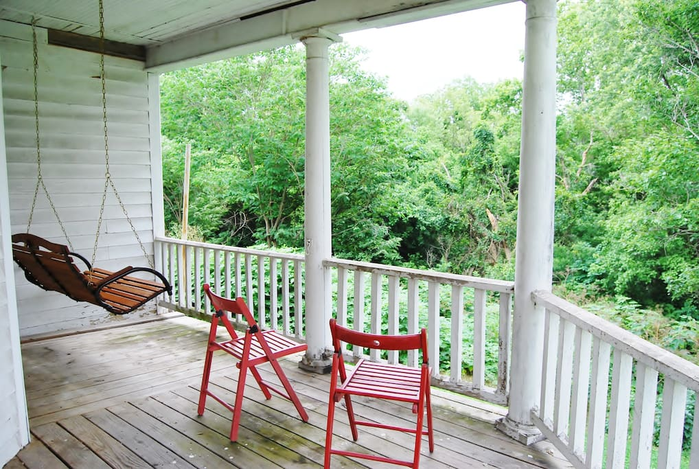 Enjoy the mountains from the back porch.