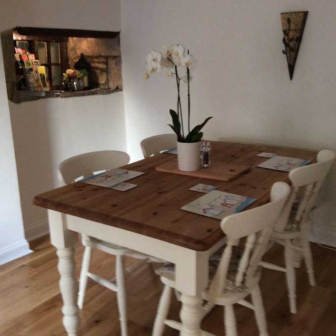 Dining room with original Truro window
