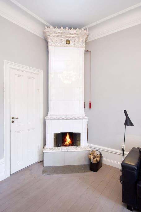 Tile stove in livingroom