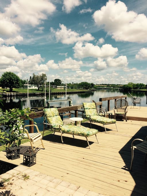 Deck overlooking canal