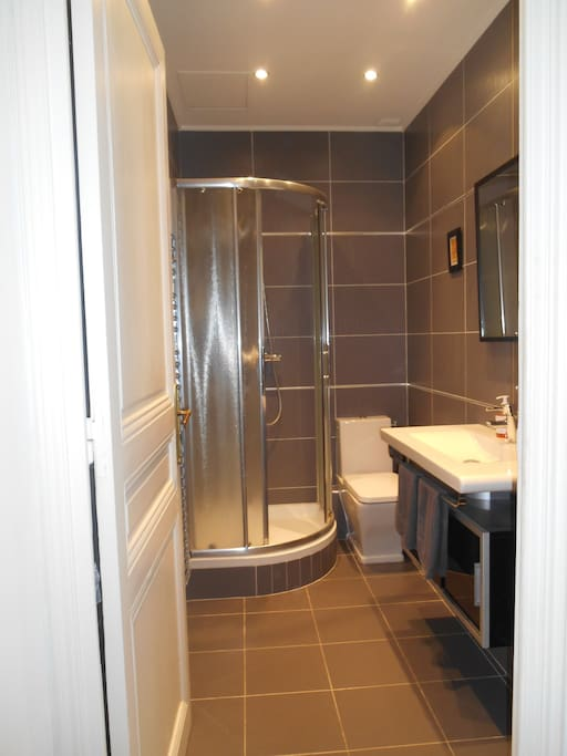 The first bathroom that belongs to the master bedroom.