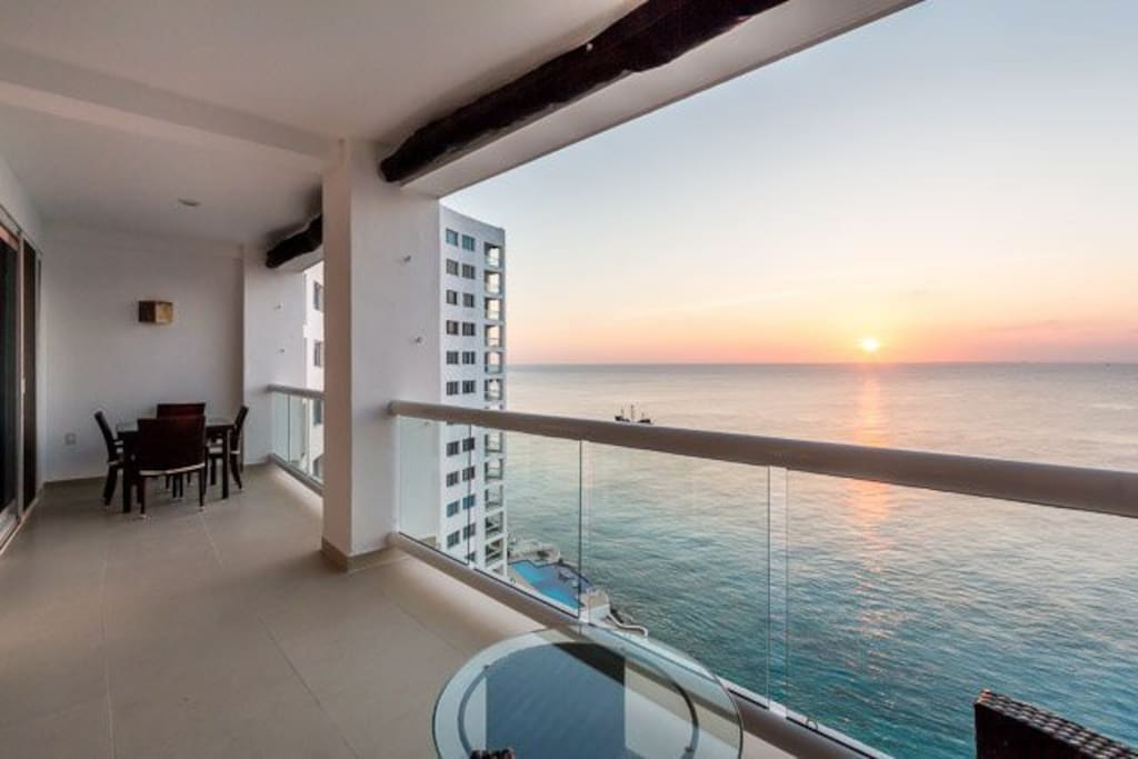 One of two balconies overlooking the ocean