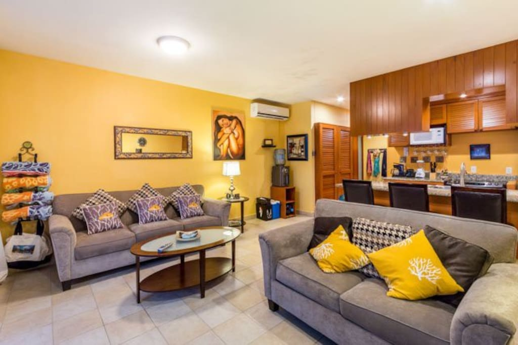 The long common area has two comfortable couches, a flat screen TV, lots of movies and games, and a fully equipped kitchen