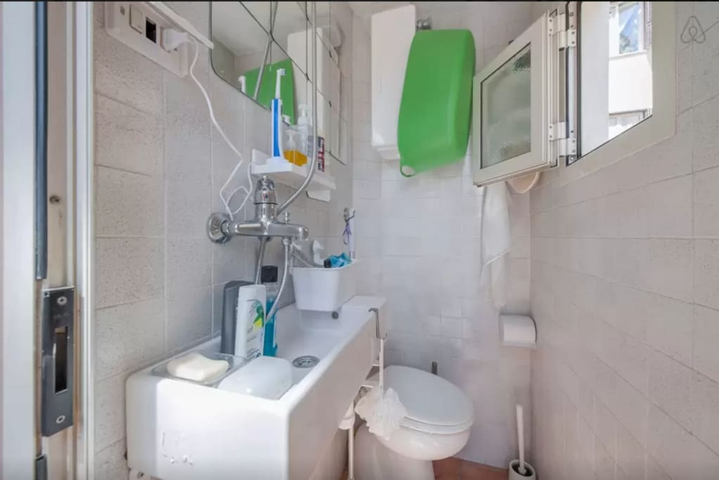 The toilet is very small but it has all you need. If you need more space you can share another bathroom with me or the other guests of the house if they agree
