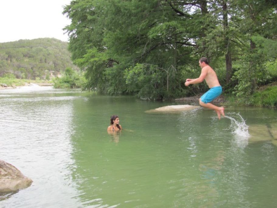 Swim on our private access on the Blanco River