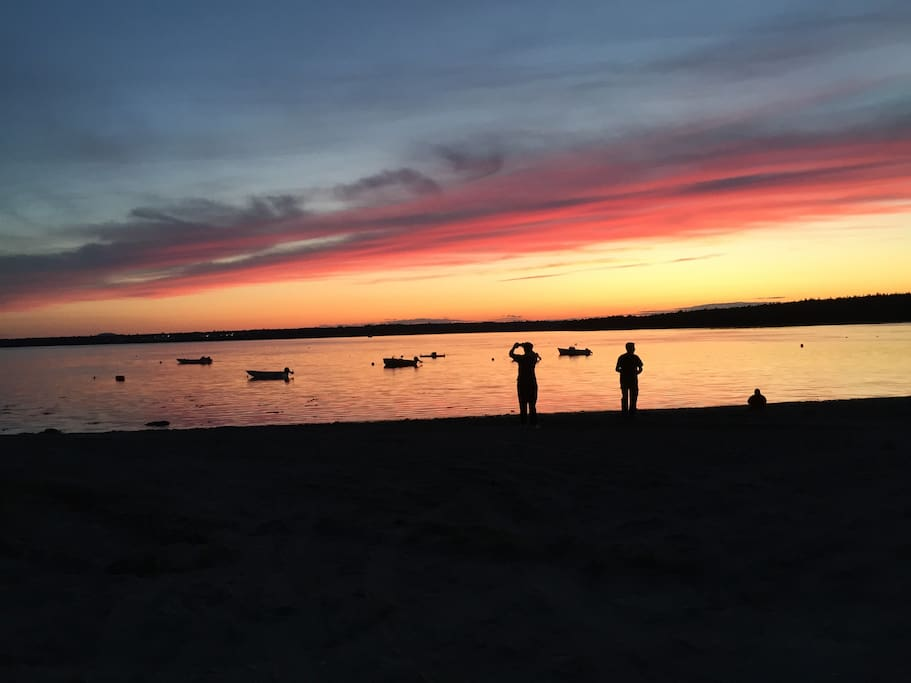 Sunset at Hadley Point Beach, 5 minute walk from the house!