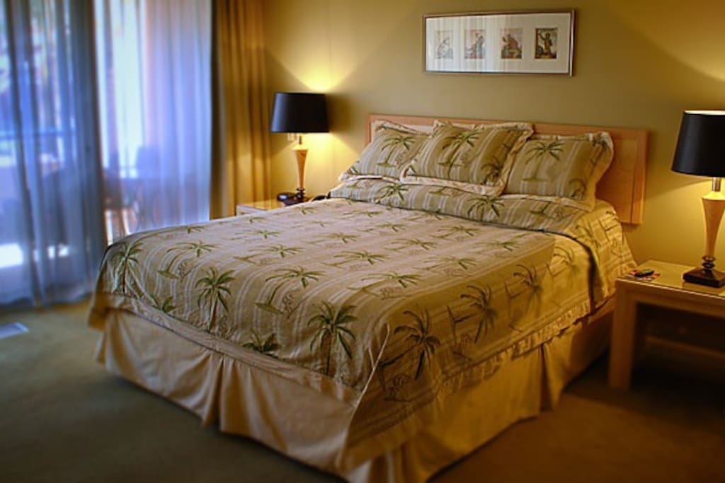 the master bedroom, has a king size bed or two queen beds.