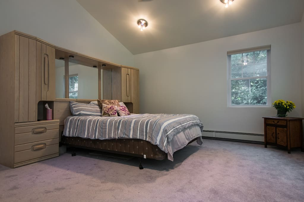 Large quiet bedroom with queen size bed.Plenty of cabinet space for storage.  Plenty of floor space  for  fold away bed