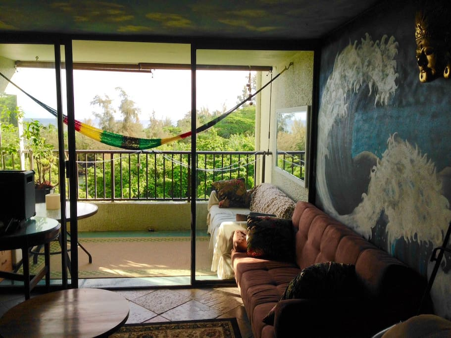 Living room with beautiful original mural