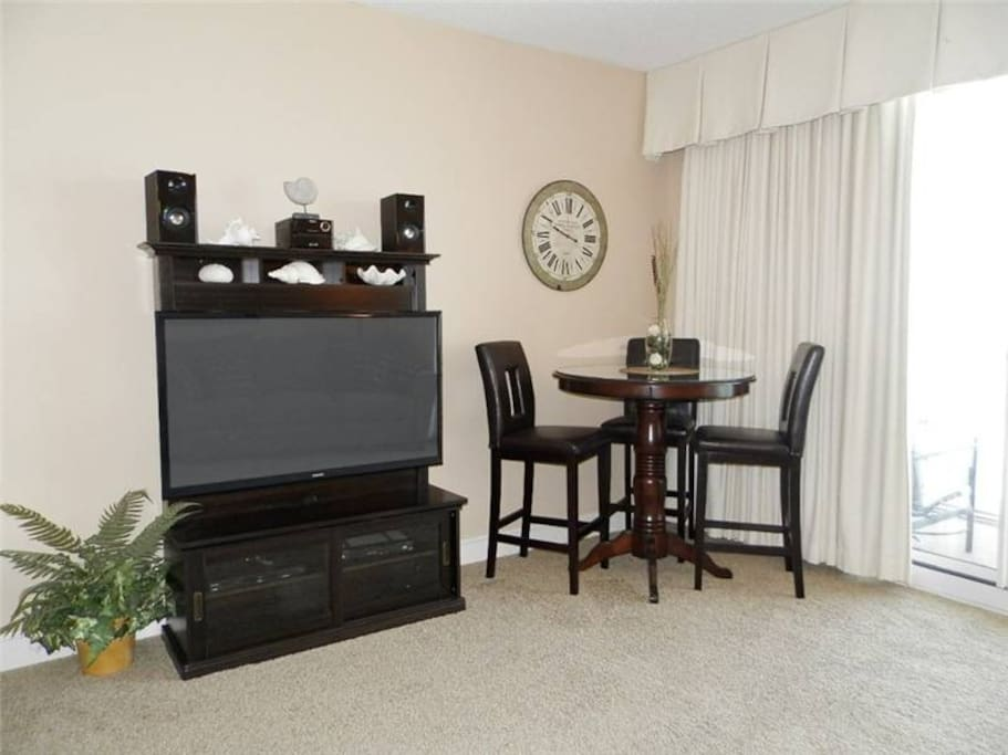 Large TV and dining table