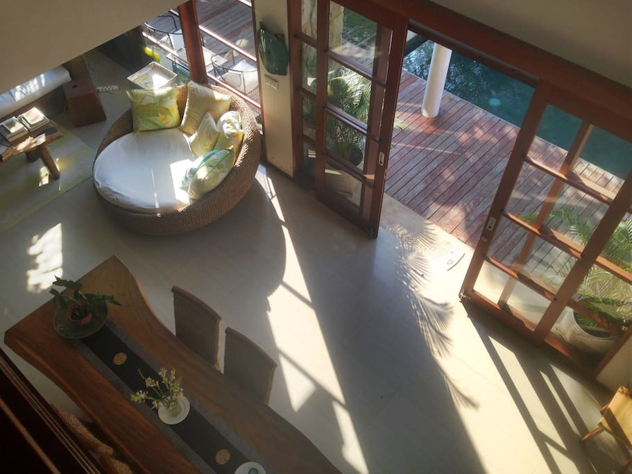 View from second floor into living room.