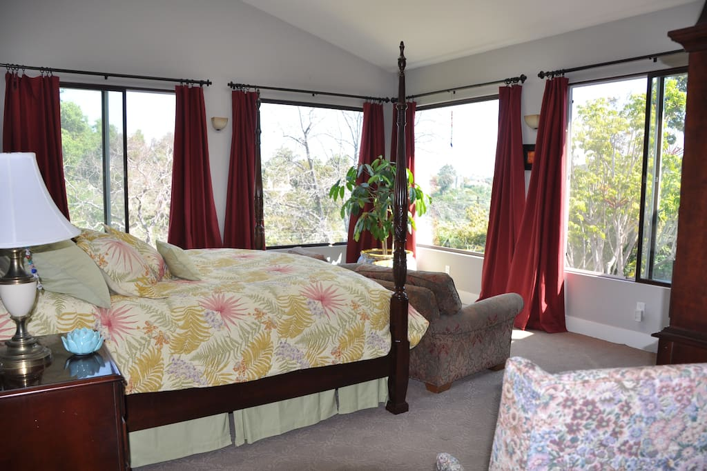 The Master Suite is like being in a tree house.  Four enormous 5'x5' windows look out across the verdant canyon for views of Cowles Mountain.