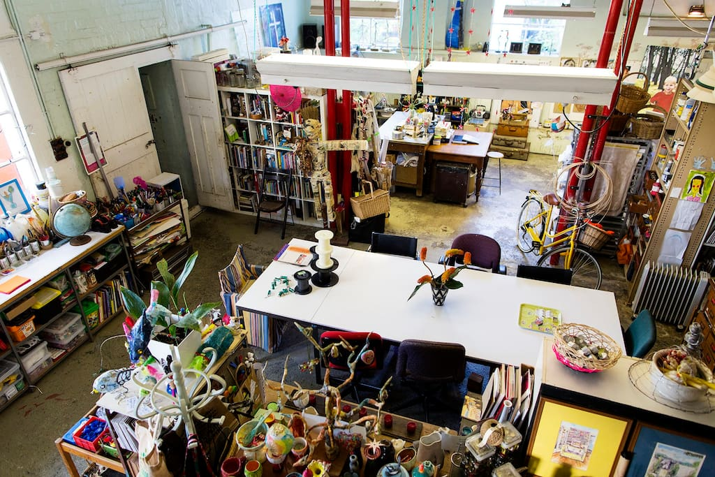 This is the view from the stairs looking across Lisa's fabulous studio.